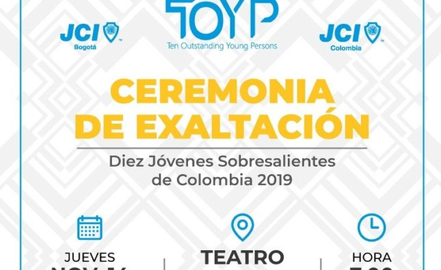 La Junior Chamber International –JCI- premiará a 10 Jóvenes Sobresalientes de Colombia 2019